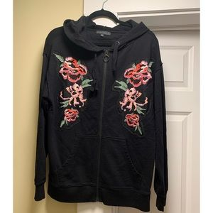 Sanctuary embroidered zip up hoodie
